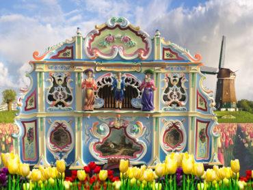 draaiorgel draaiorgeltje drehorgel street organ holland dutch wooden shoes tulips huren tulpen te huur draaiorgelverhuur